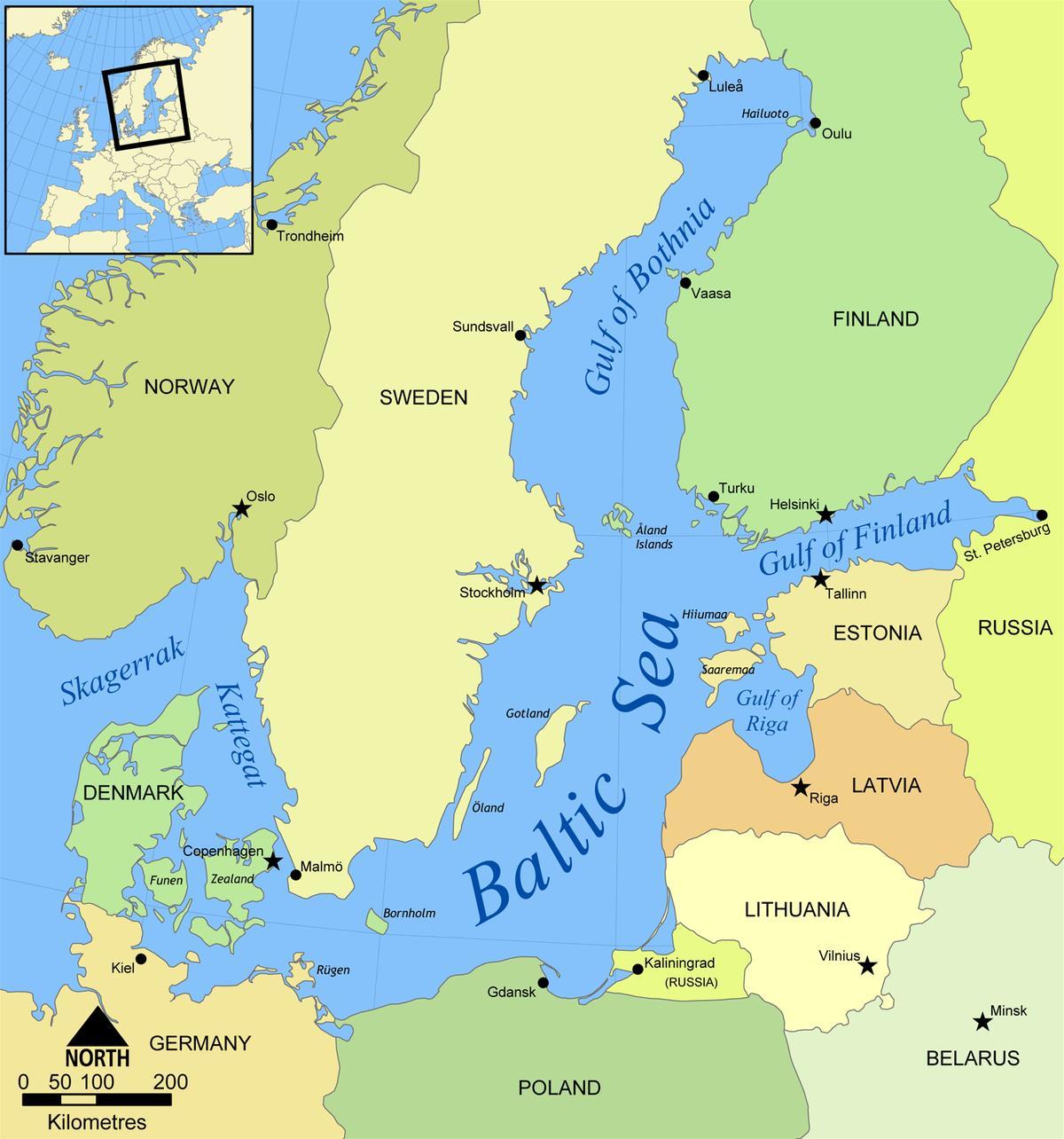 Itameren Venaja Kartta Map Itameren Venaja Ita Eurooppa Eurooppa