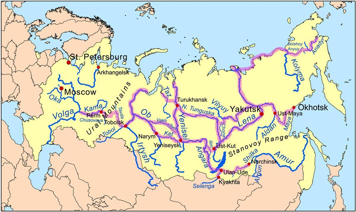 Kartta Venajan Joet Kartta Venajan Jokia Ita Eurooppa Eurooppa